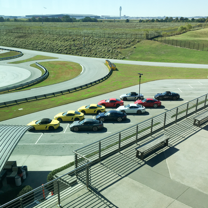 Look at that line of Porsches!